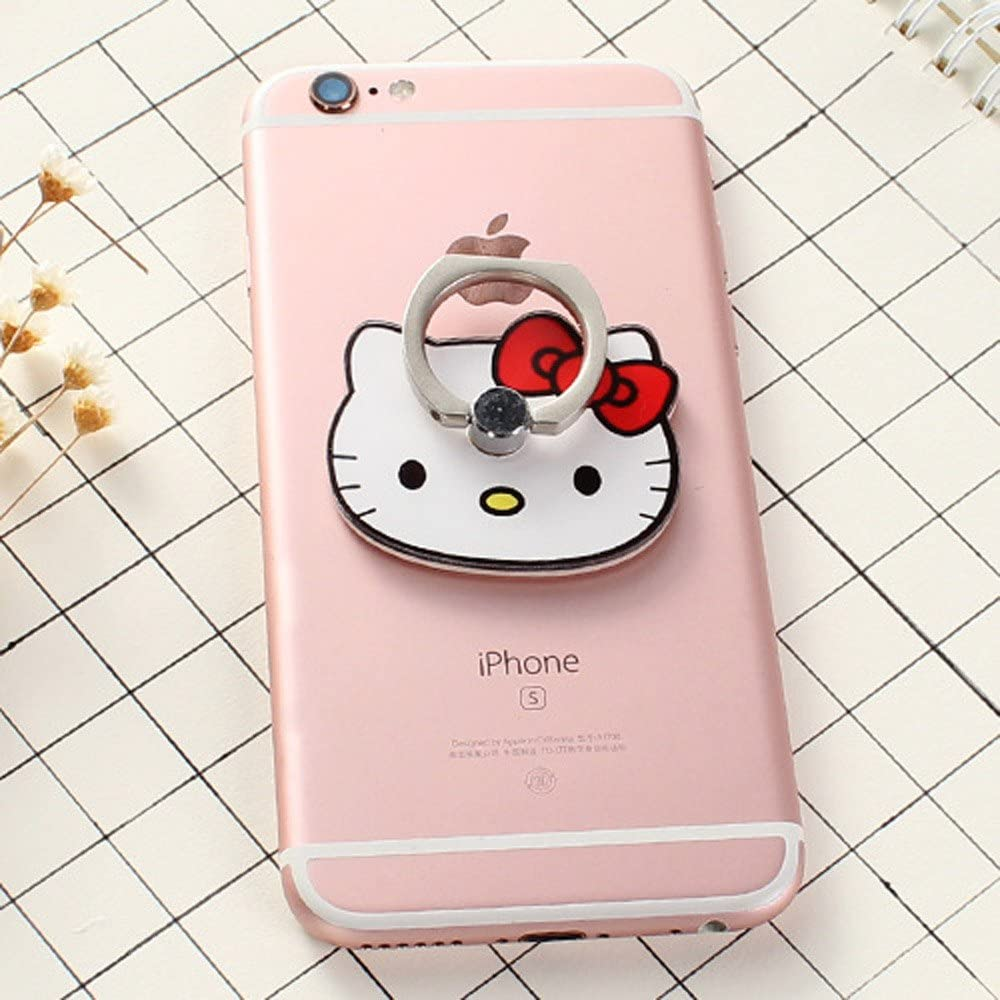 ZOEAST(TM) Phone Ring Disney Panda Cat Kitty Universal 360° Rotating Phone Buckle Tablet Finger Grip Ring Stand Holder Kickstand Tablet Compatible with iPhone 5S 6 6S SE 7 8 Plus X iPad (Red Kitty)