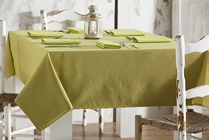ESTELA - Mantel RÚSTICO Liso Color Pistacho - 140x250 - Incluye 12 servilletas - Confección en Dobladillo - Hilo Tintado - 50% Algodón / 50% Poliéster: Amazon.es: Hogar