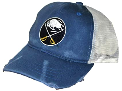 bec8f79b Image Unavailable. Image not available for. Color: Buffalo Sabres Retro  Brand Blue Worn Mesh Vintage Adjustable Snapback Hat Cap