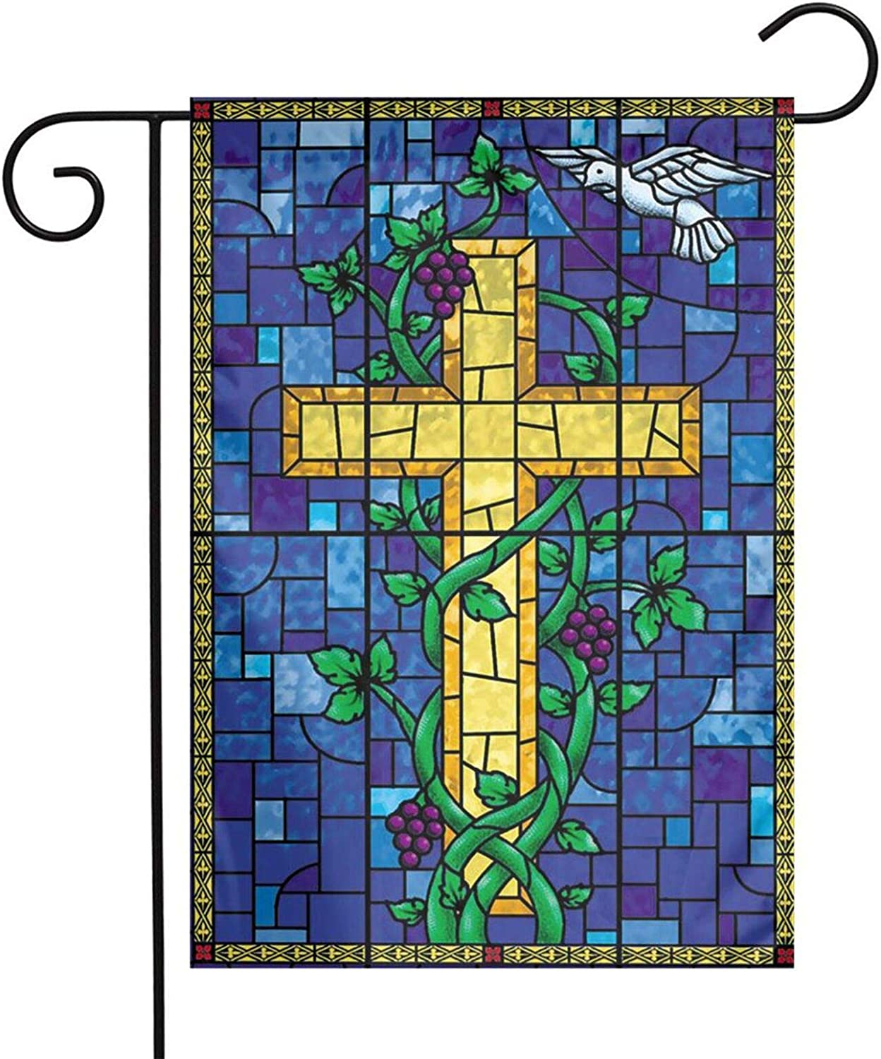 AIJEESI Jesus Christ Cross Religious Stained Glass Style 12 x18 Inch Floral Garden Yard Flag, Jesus Christ Cross Religious Stained Glass Style Banner for Home Decorative House Yard Sign