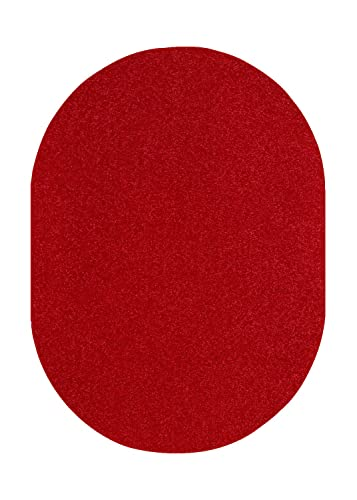 Bright House Solid Color Oval Shape Area Rugs Red – 3 x5 Oval