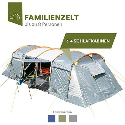 skandika Montana - 8 Personas - Tienda campaña Familiar - túnel - 700x310 cm - mosquiteras