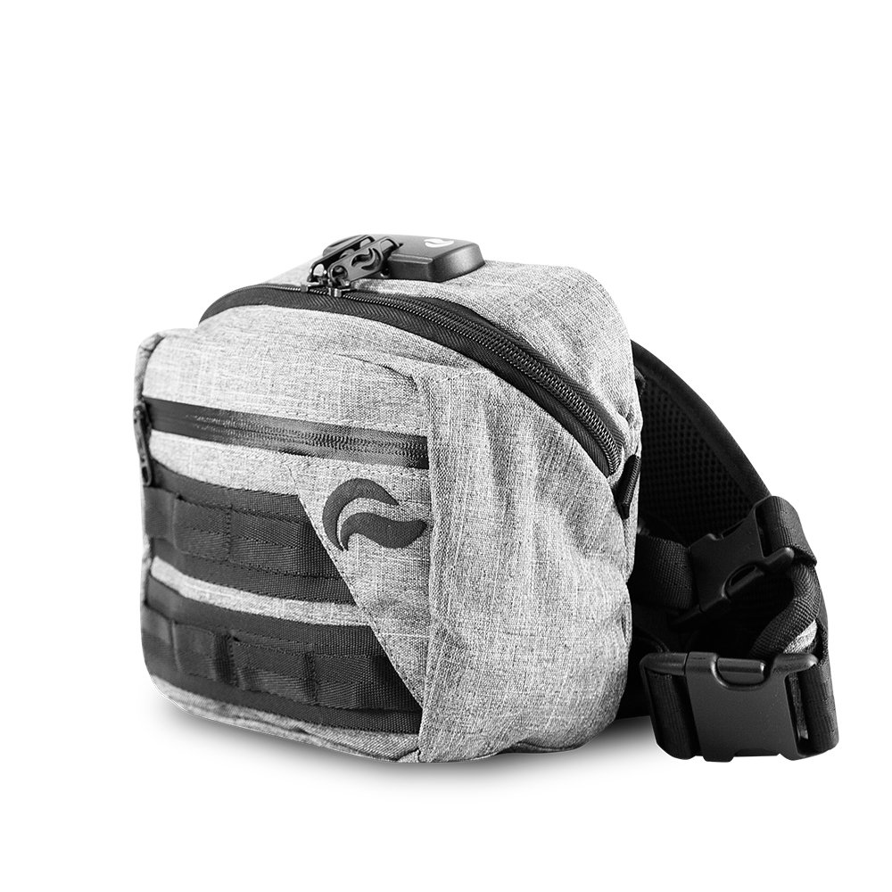 Skunk Kross Smell Proof Fanny Pack Hipster Bag w/Combo Lock (Gray)