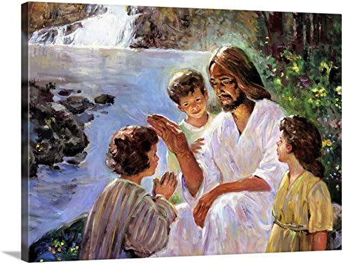 Christ and The Children Canvas Wall Art Print