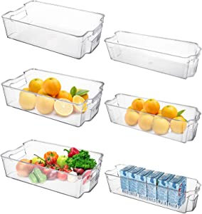 yarlung 6 Pack Refrigerator Organizer Storage Bins with Handles, Kitchen Stackable Drawers Clear Plastic Fridge Organizer for Fruit, Vegetable, Beverage, Can Food, Wide & Narrow, 2 Sizes