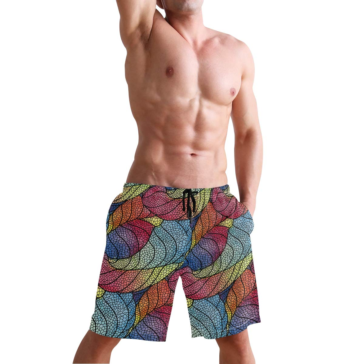 DEYYA Mens Feather Summer Beach Shorts Pants Swim Trunks Board Short for Men