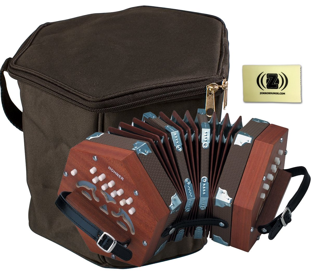 Hohner D40 20-Key Concertina Bundle with Hohner CONG Concertina Gig Bag and Zorro Sounds Polishing Cloth