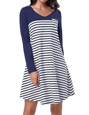 659a752fb31b Kate Kasin Women Loose Fit Long Sleeve Tshirt Dress Blue and White Stripe  S