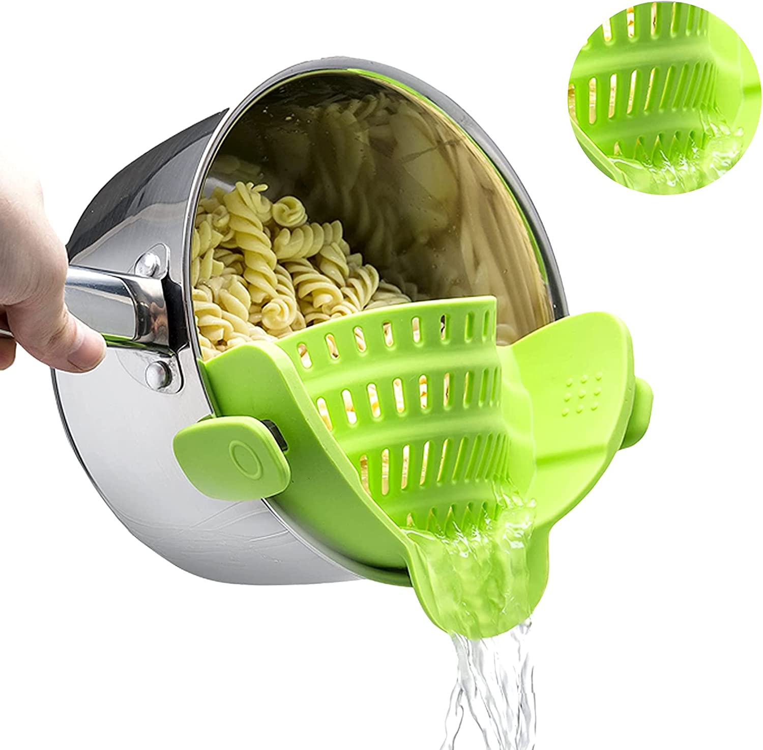 Clip on Food Strainer for Kitchen, Silicone Pasta Pans with Strainer Fit Most Pots, Muzpz Heat Resistant Strainer with 2 Clips for Pasta, Spaghetti, Fruit, Home Kitchen Gadgets for Women Save Time