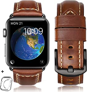 HUAFIY Compatible iWatch Band 42mm 44mm, Top Grain Leather Band Replacement Strap iWatch Series 5, Series 4/ 3/ 2/ 1,Sport, Edition New Retro Leather (Retro Brown 01+Black Buckle, 42mm 44mm)