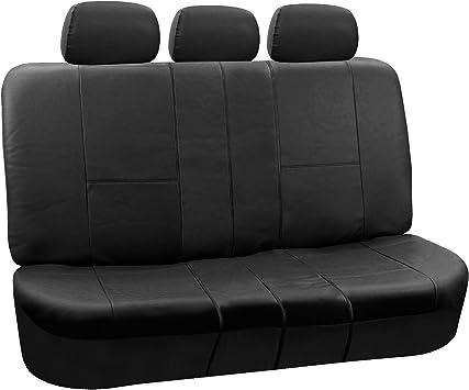Amazon Com Fh Pu002 1013 Classic Exquisite Leather Bench Seat Covers Split Bench Solid Black Color Automotive