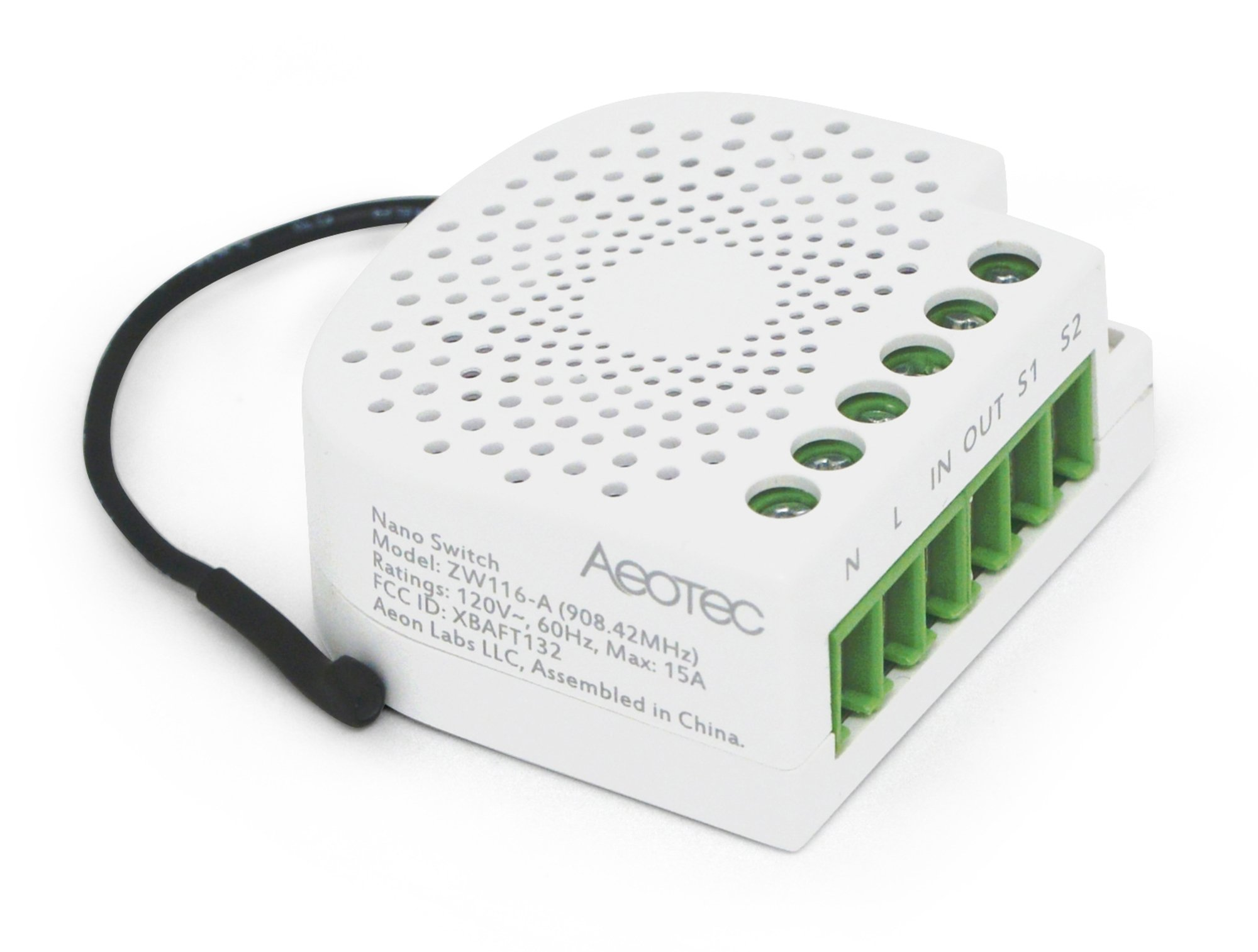 Aeotec Nano Switch on / off controller with power metering, Z-Wave Plus, In-wall, Compatible with Alexa by Aeotec (Image #4)