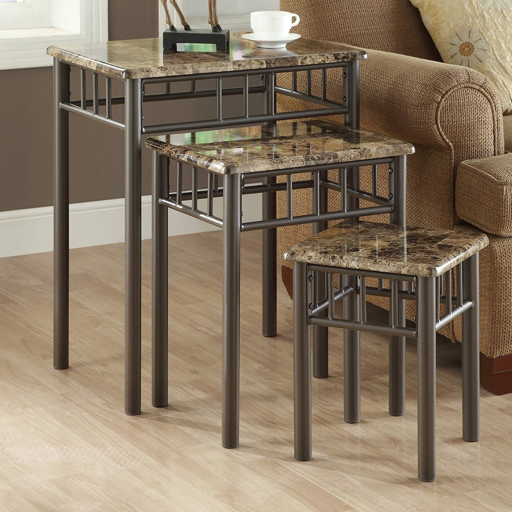 Monarch Specialties I 3041 Bronze Metal Nesting Table Set with Cappuccino Marble Top, 3-Piece