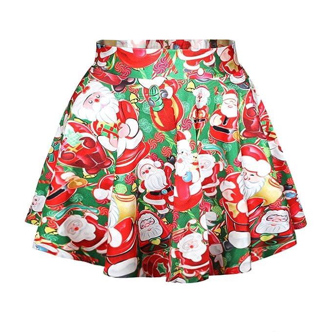 Santa Christmas Print Skirt