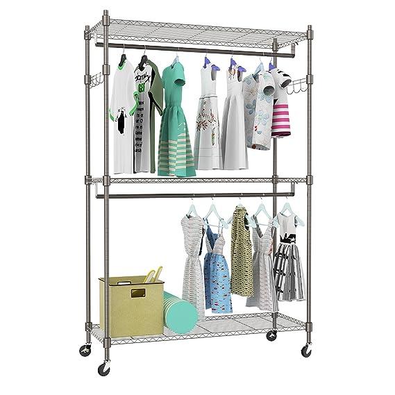 Amazon.com: Kemanner - Estantería de ropa resistente de 3 ...