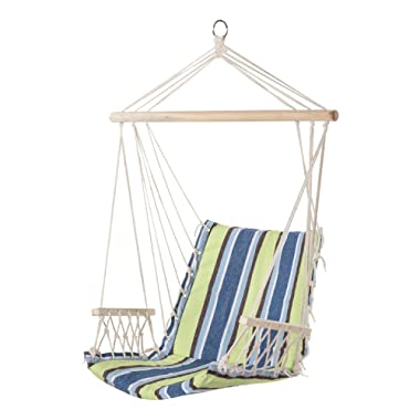PG PRIME GARDEN Hanging Rope Chair Cotton Padded Swing Chair Hammock Seat for Indoor or Outdoor Spaces-Light Blue&Green Stripe