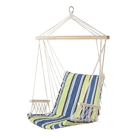 PG PRIME GARDEN Hanging Rope Chair Cotton Padded Swing Chair Hammock Seat  For Indoor Or Outdoor