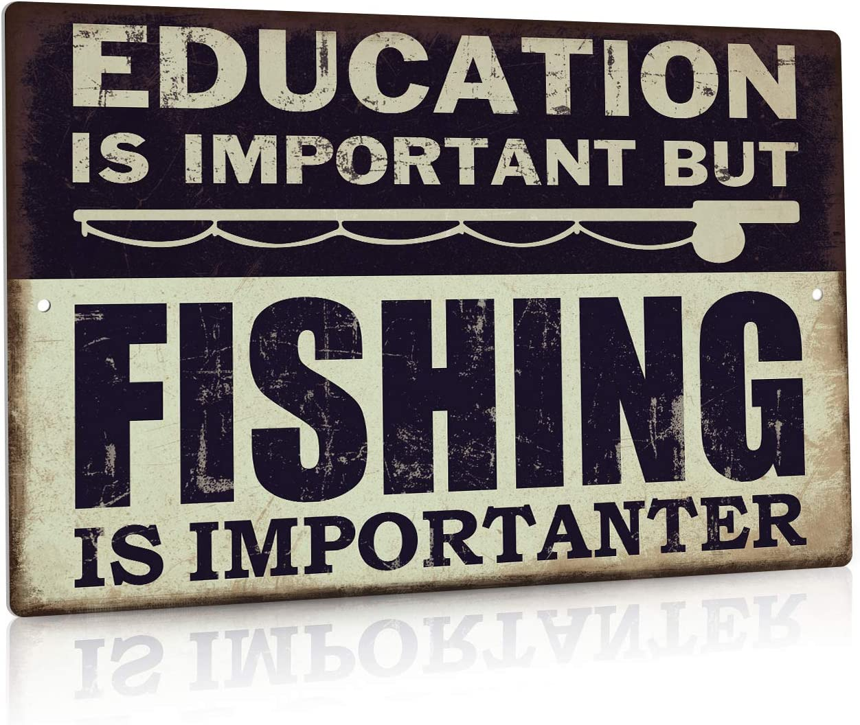 Putuo Decor Funny Fishing Metal Tin Sign, But Fishing is Importanter Lake House Decor12 x 8 Inches