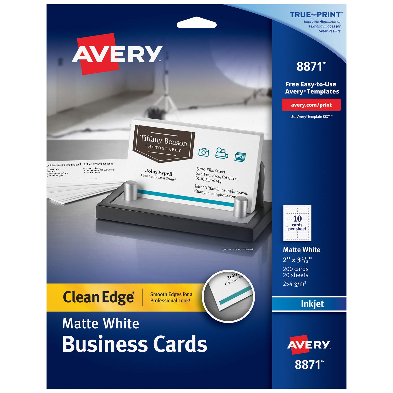 Avery Printable Business Cards, Inkjet Printers, 200 Cards, 2 x 3.5, Clean Edge, Heavyweight (8871), White by AVERY