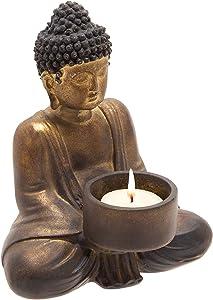 Sagebrook Home 13029-11 Resin Sitting Buddha Tea Light, 5.25''L x 4.5''W x 6''H, Bronze/Copper