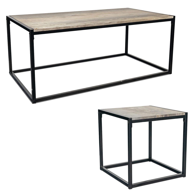 Pack of 2 Harbour Housewares Contemporary Industrial Bedside Table Rustic Light Wood//Metal Steel Frame