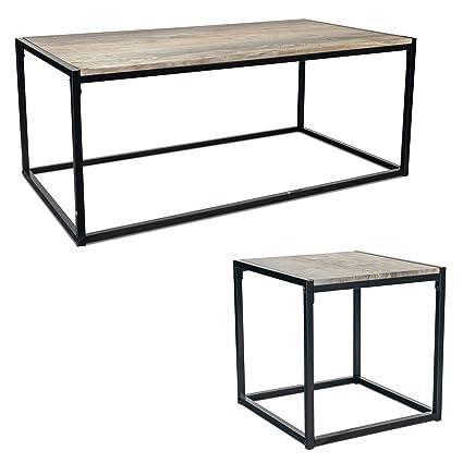 Harbour Housewares Industrial Coffee Table Side Table Rustic