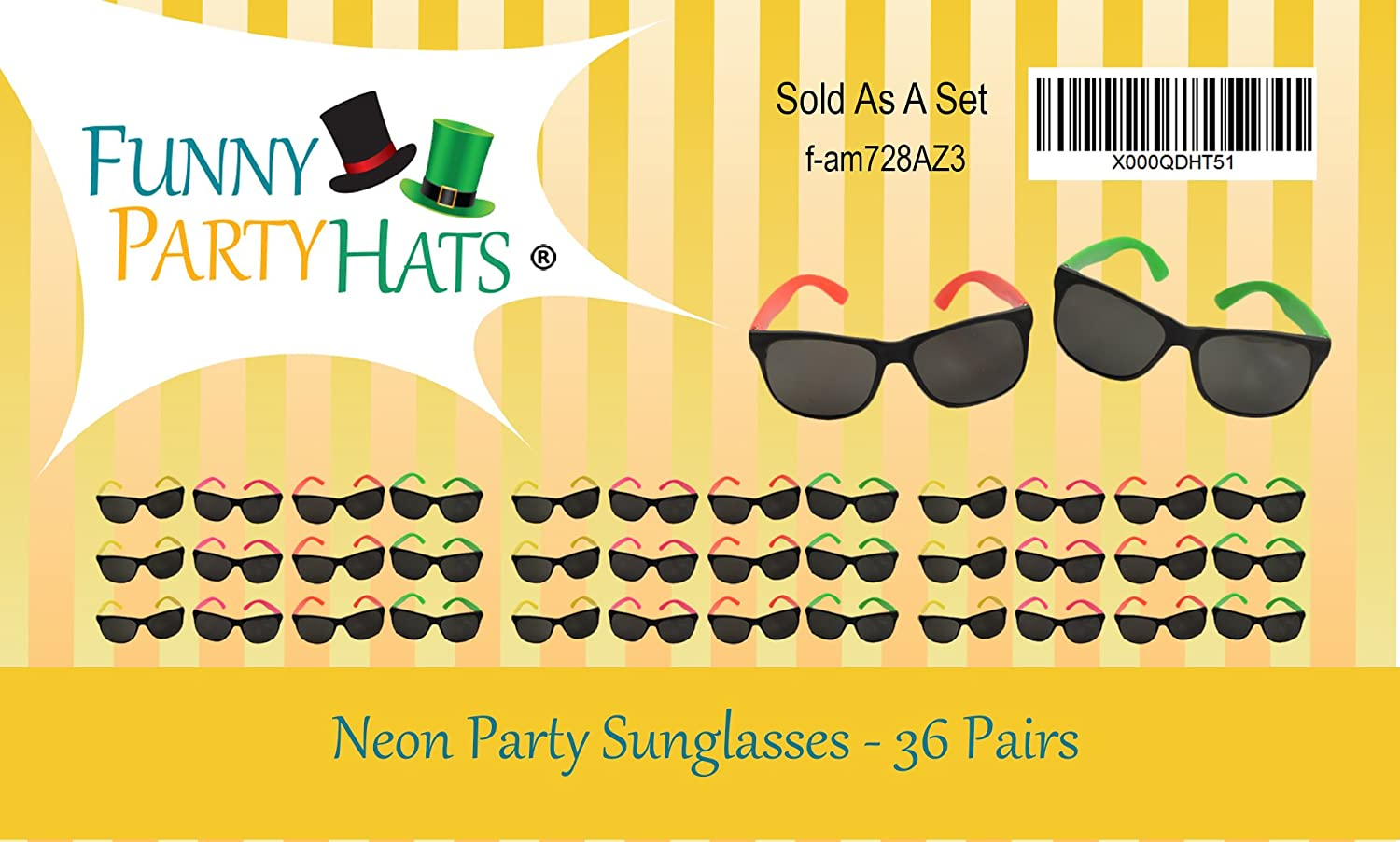 68b356deb24c6 Amazon.com  Funny Party Hats Neon Sunglasses- 36 Pack - Bulk Sunglasses -  Party Glasses - Pool Party - Beach Party Favors  Toys   Games