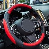 ZATOOTO Red Car Steering Wheel Covers - Microfiber Leather Auto Sport Universal 15 inch for Family Women Men Interior Accesso
