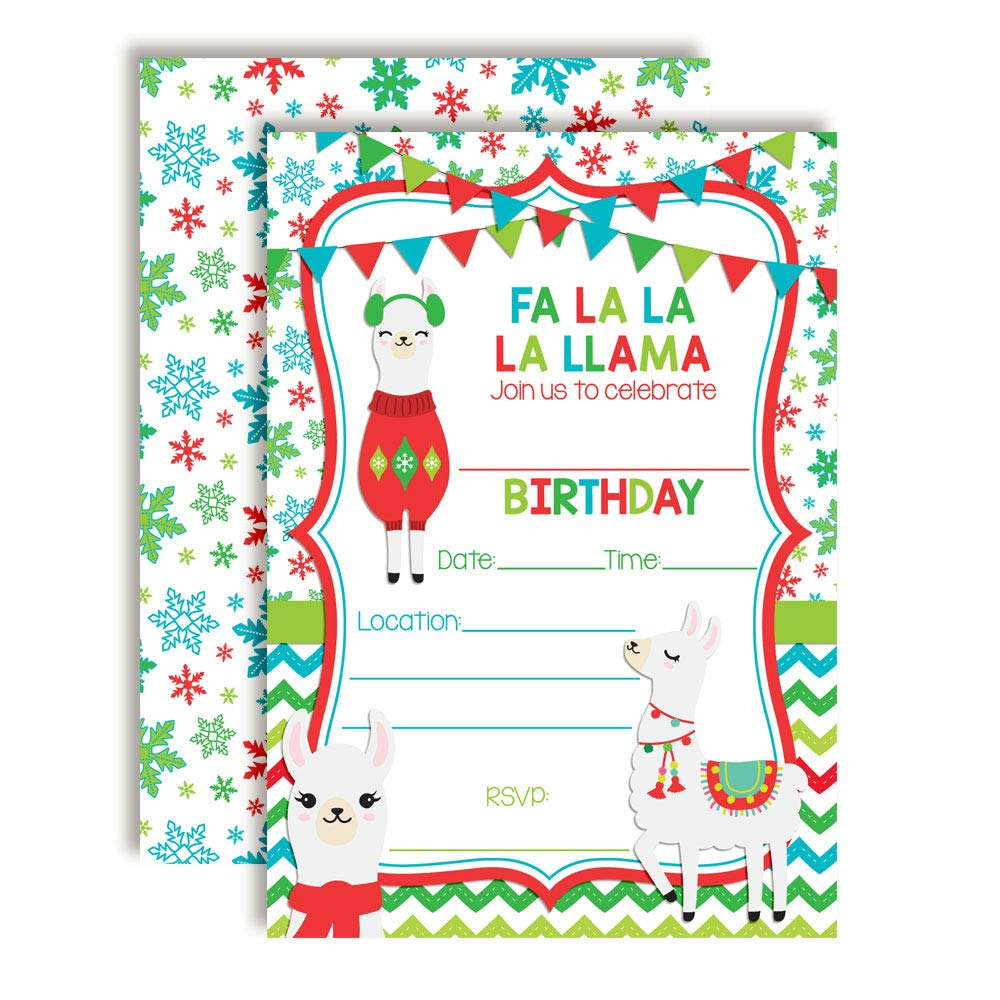 Winter FA La La La Llamas Themed Holiday Christmas Birthday Party Invitations 20 5x7 Fill in Cards with Twenty White Envelopes by AmandaCreation