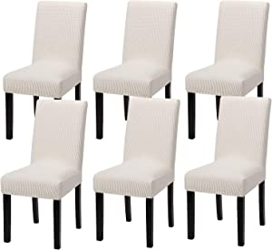 Yucoao 6 Pack Stretch Dining Chair Covers(15''-18''), Jacquard Chair Slipovers Removable Washable Spandex Furniture Protector Covers, Ivory