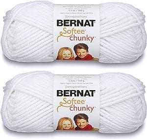 2-Pack - Bernat Softee Chunky Yarn, White, Single Ball