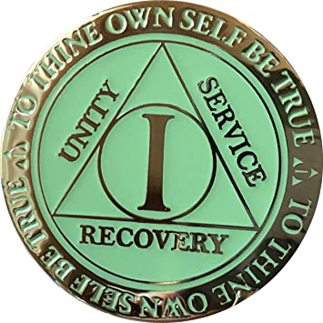 Recoverychip 1 Year AA Medallion Reflex Blue Glow in The Dark Gold Plated Chip