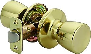 AmazonBasics Tulip Door Knob, Passage, Polished Brass