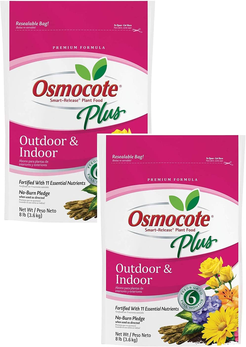 Osmocote Smart-Release Plant Food Plus Outdoor & Indoor, 2 Pack of 8 lbs (Limited Edition)
