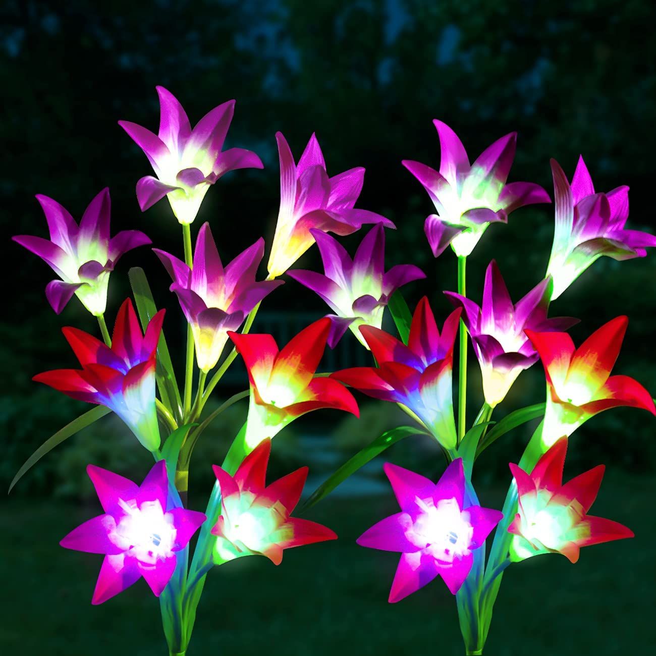 Solar Garden Lights Outdoor Decorative, 4 Pack Solar Flower Lights with 16 Bigger Lily Flower, 7 Colors Changing Outdoor Waterproof Solar LED Flower Light for Garden, Patio,Yard Decoration