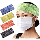 CGTL Fashion Button Wide Women Headbands 2 Pack Sports Outdoor Floal Hair Bands Cotton Stretchy Daily Use Yoga Hair…