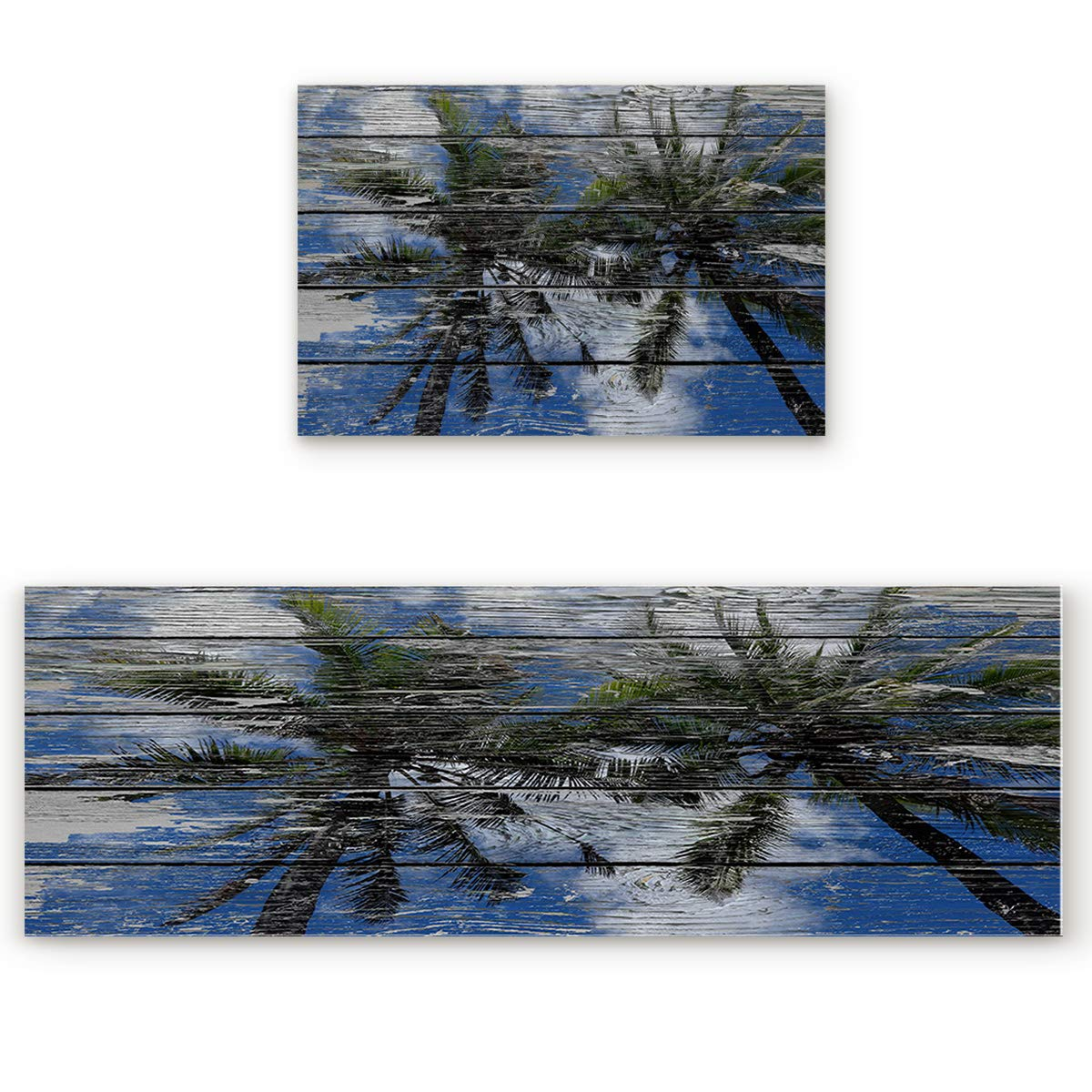 Palm Tree Tropicsoa5026 23.6\ SODIKA 2 Pieces Kitchen Rug Set,Non-Skid Slip Washable Doormat Floor Runner Bathroom Area Rug Carpet,Tropical Palm Tree Painted on Wooden Board (23.6x35.4in+23.6x70.9 inches)