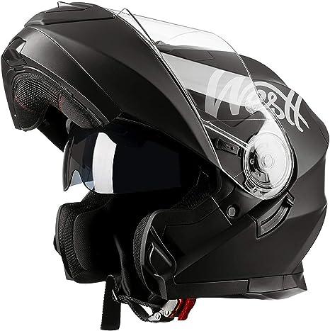 Westt Torque Z /· Casco Modulare Integrale Moto Nero Opaco Doppia Visiera Scooter Motorino /· Casco Moto Donna e Uomo /· Omologato ECE