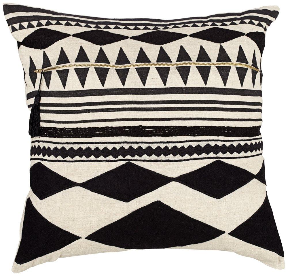 Jaipur部族パターンブラック アイボリーリネンDown 日本産 Filled枕 22