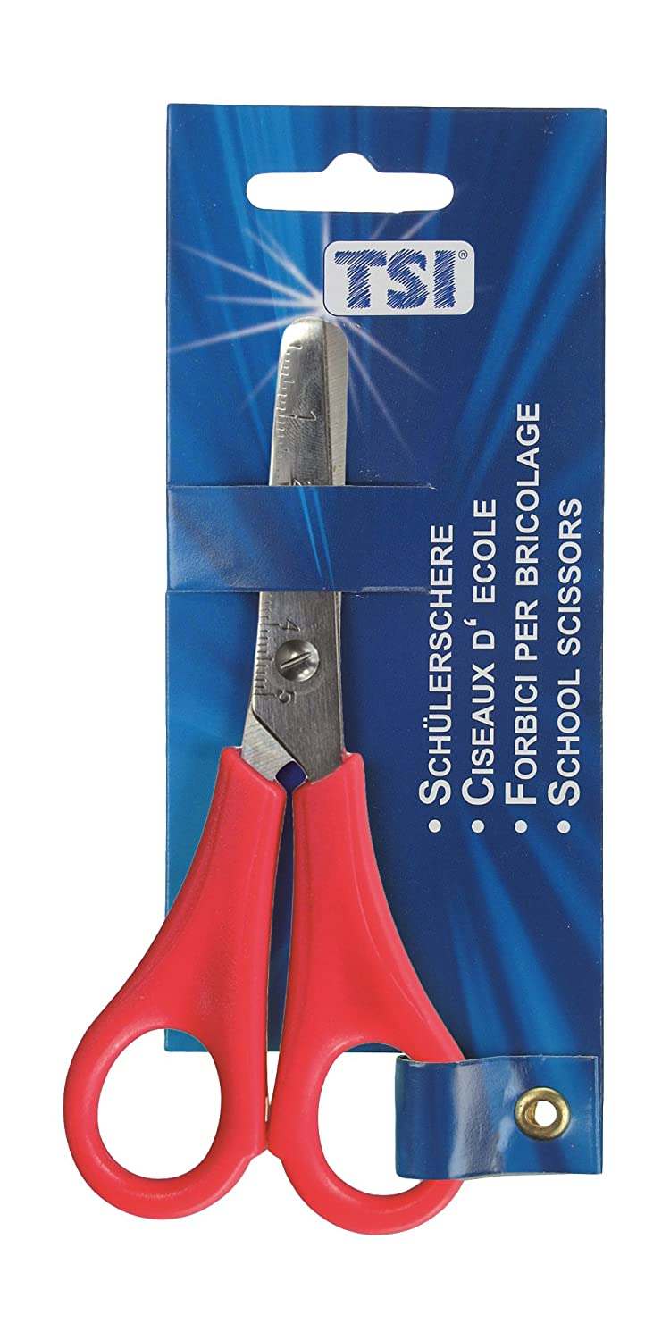 TSI 41528Student Scissors With Rounded Tips Assorted Colours with Scale 13cm/5cm