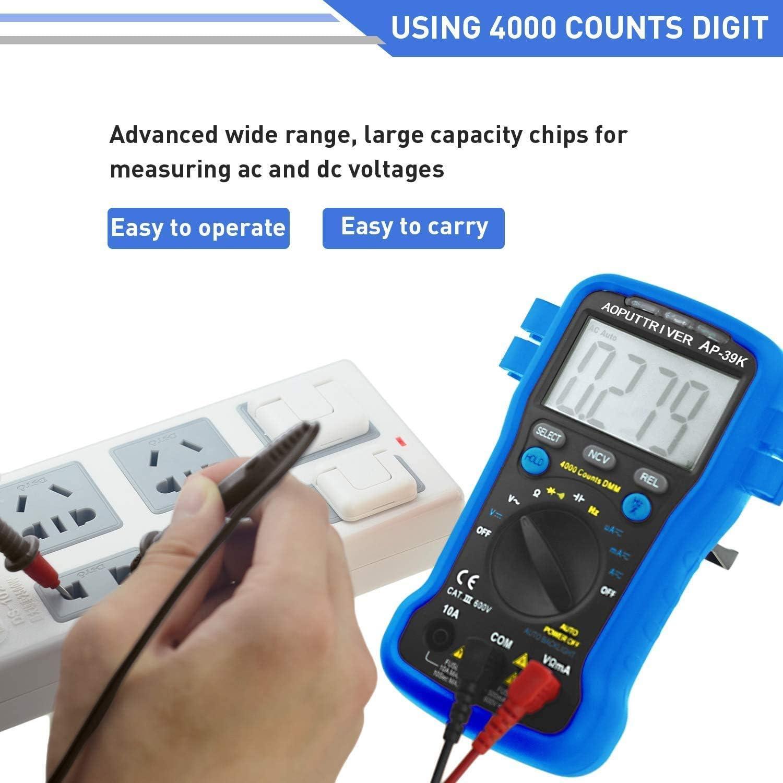 Multimetro Digitale AP-39K 4000 Conti Digitale Tester Autorange Multimetro Test NCV//Tensione//Corrente//Resistenza//Diodi//Continuit/à//Ciclo di Lavoro//Capacit/à con Conservazione dei Dati /& Retroilluminato
