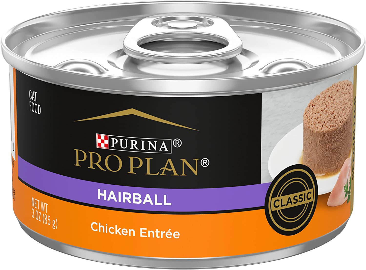 Purina Pro Plan Hairball Control, Pate Wet Cat Food, Specialized Hairball Chicken Entree - (24) 3 oz. Cans