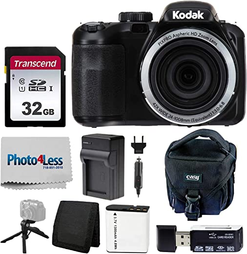 Kodak PIXPRO AZ421 Digital Camera (Black) + Point & Shoot Camera Case + Transcend 32GB SD Memory Card + Extra Battery & Charger + USB Card Reader + Table Tripod + Accessories