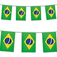 Brazil Brazilian Bunting Flag 10M with 30 Flags Double Sided Hanging Banner