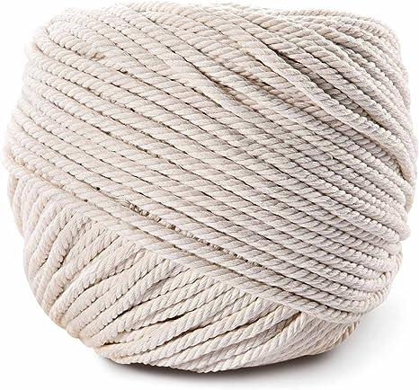 Cordón de macramé, LOOMY 4 mm 109 YD cuerda de algodón natural y macramé hecho a mano suministros de manualidades mejor para colgar en la pared para hacer colgadores de plantas: Amazon.es: