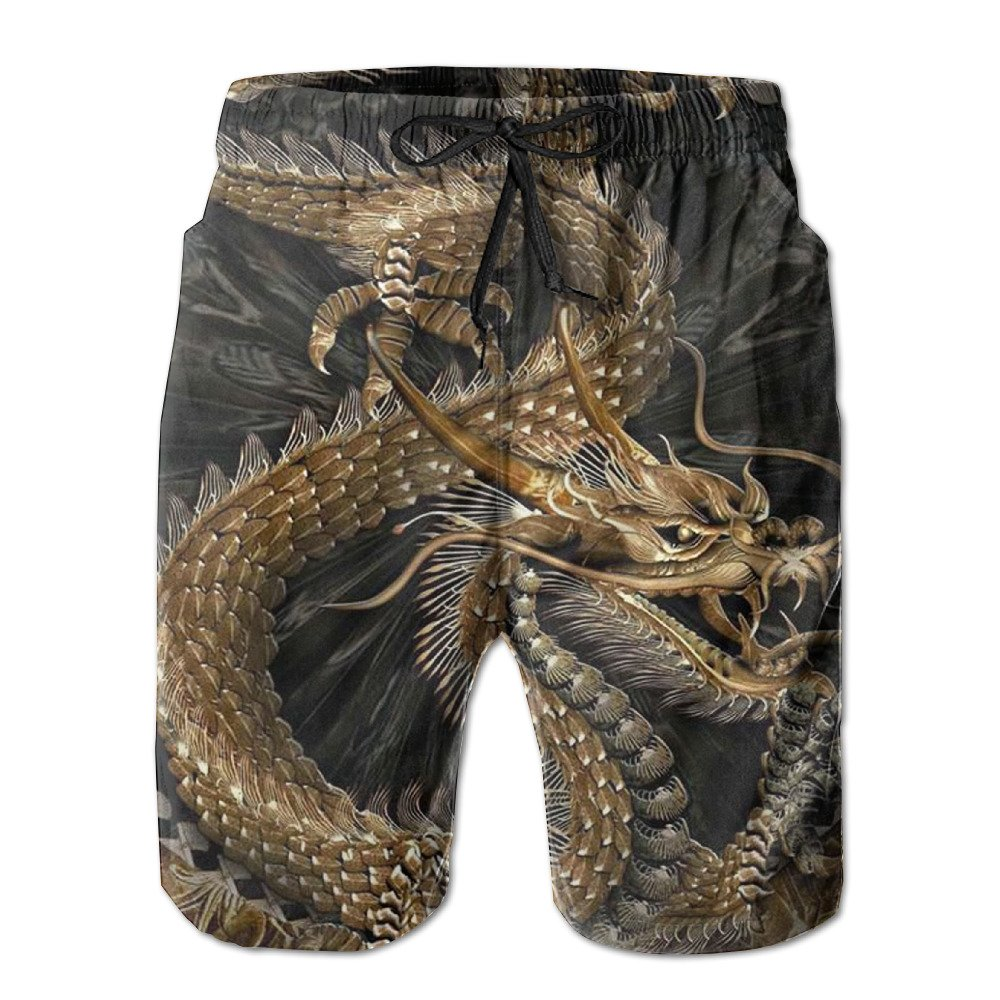Chinese Dragon Mens Watersports Fashion Swim Trunk Bathing Suits Pants With Pockets