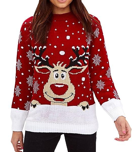 979bf2a97c166 Scothen Jersey de Mujer Jersey de Navidad navideño Jersey de Punto  Sudaderas Cuello Redondo de Manga Larga Rudolph Jersey navideño Jersey de  Cuello Redondo ...