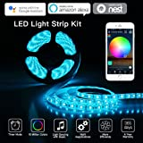 LED Light Strip Flexible Strip Lights Compatible with Alexa Google Home 12 Volt 16.4FT/5M RGB LED String Lights Kit 5050 RGB Waterproof Color Changing Vantity Lights + 24 key IR Remote + Power Supply