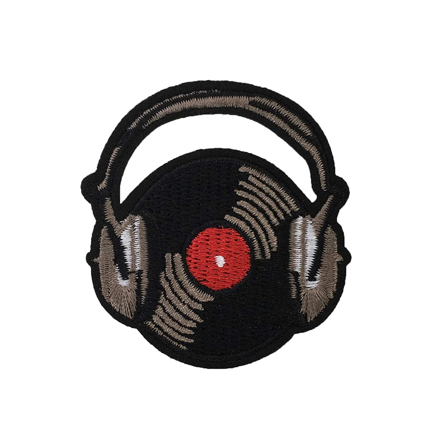 Retro Vinyl Record Headphones Embroidered Iron On Patch Applique FCP7843