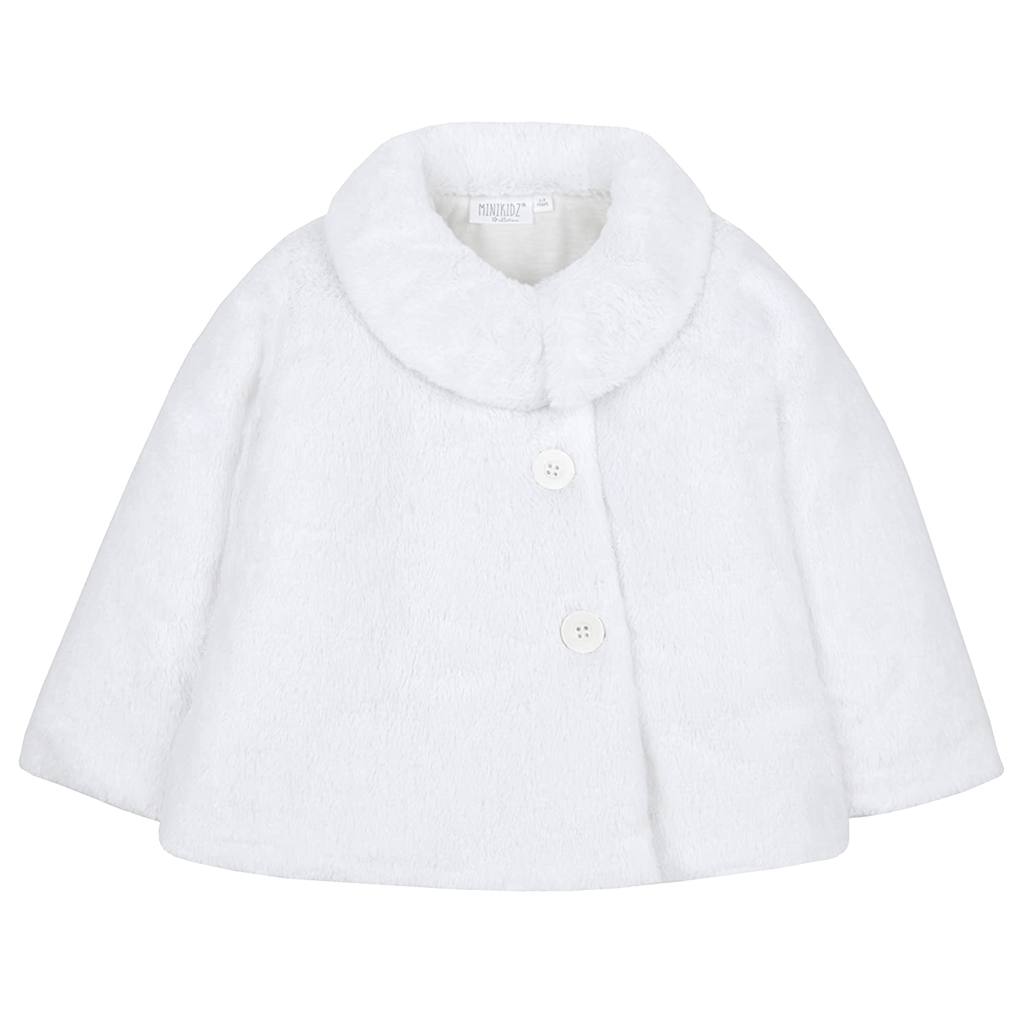 Metzuyan Infant Girls Fluffy Winter Button Up Swing Coat
